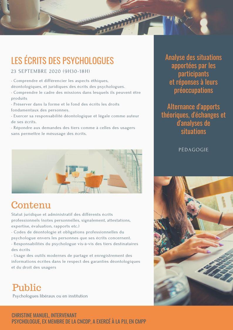 LES ÉCRITS DES PSYCHOLOGUES