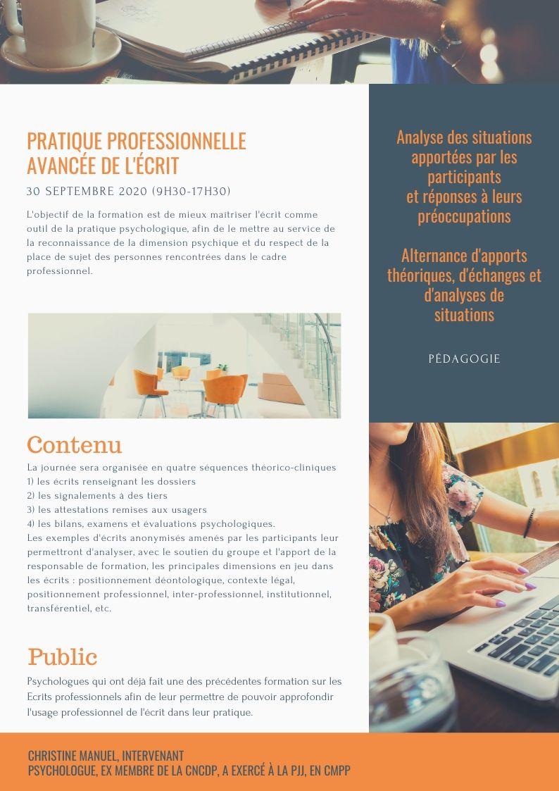 PRATIQUE PROFESSIONNELLE AVANCÉE DE L'ÉCRIT
