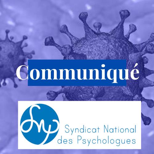 Communiqué : Les psychologues partie prenante de l'accompagnement psychologique au sein de la crise sanitaire du COVID 19