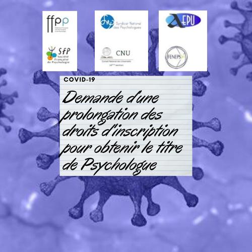 Demande conjointe d'une prolongation des droits d'inscription jusqu'au 31 décembre 2020 pour obtenir le titre de Psychologue