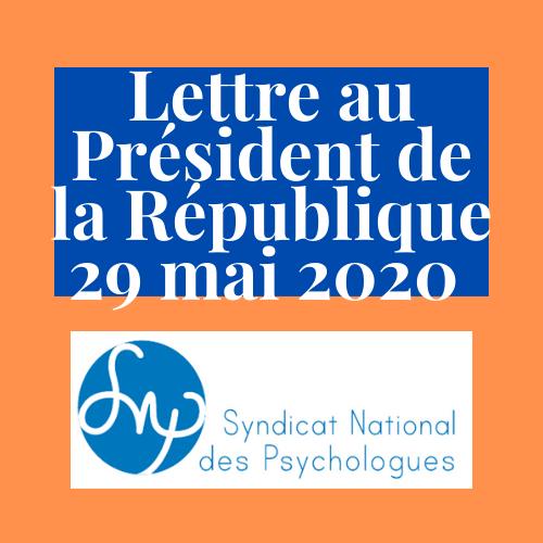 Lettre au Président de la République du 29 mai 2020
