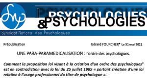 Une para-paramédicalisation: l'ordre des psychologues par Gérard Fourcher