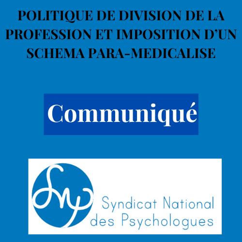 Politique de division  de la profession et imposition d'un schéma para médicalisé