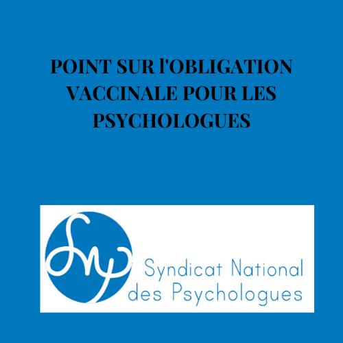 Informations sur l'obligation vaccinale des psychologues